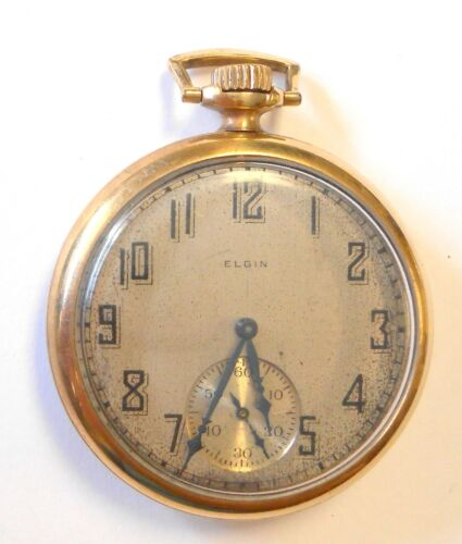 Antique Elgin Gold Plated Open Face Pocket Watch 12 Size Grade 303 Metal Dial