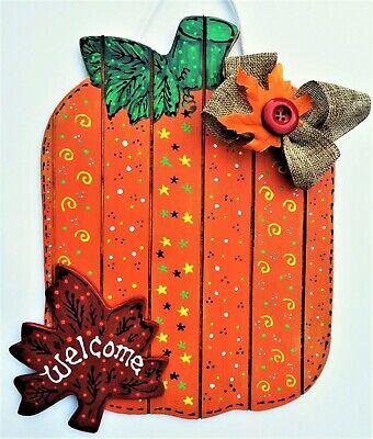 WELCOME Pumpkin & Leaf Sign Wall Door Hanger FALL Plaque Halloween Autumn Decor - Halloween Door Hanger