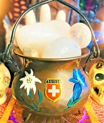 💛 Spirited Vintage Strange Hand Hammered Copper Swiss Floral Cauldron Burner 🧡