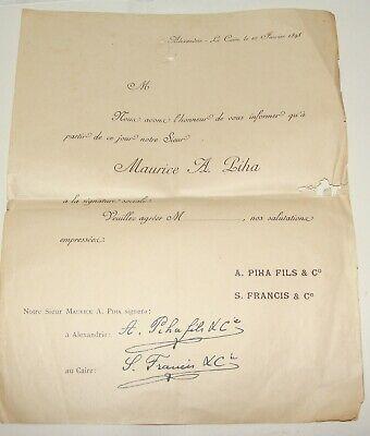 Jewish Judaica 1898 Egypt Alexandria Cairo Certificate MAURICE A. PIHA