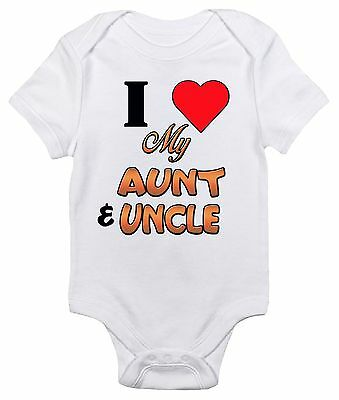 (Baby Bodysuit - I Love My Aunt and Uncle Cute Baby Clothes for Boys and Girls)