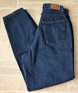 Vintage Brittania High Waisted Jeans Tapered Leg Womens PETITE 6 x 29 Dark Blue