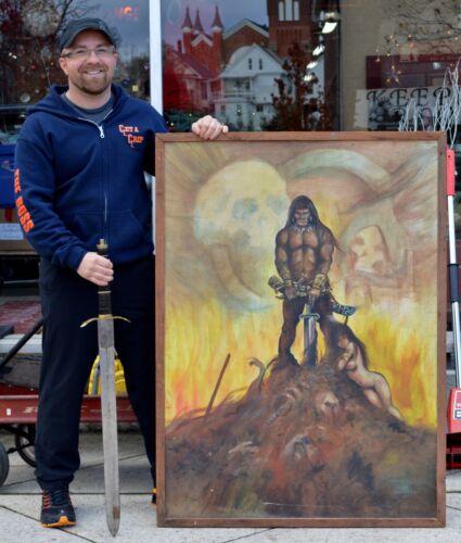 "Original Tribute Art FRANK FRAZETTA PAINTING ""The Barbarian"" BILL MENKEL Conan"