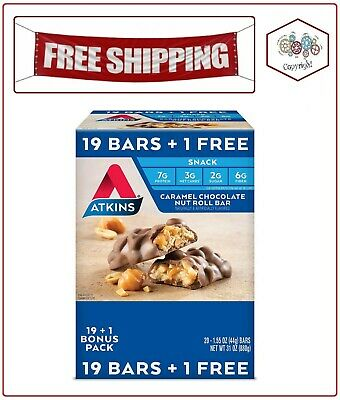 Atkins Snack Caramel Chocolate Nut Roll Pack (19 + 1 Bonus Bar)
