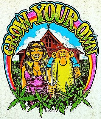 Vintage 1972 Roach  Grow Your Own  Iron On Transfer Cannabis Weed