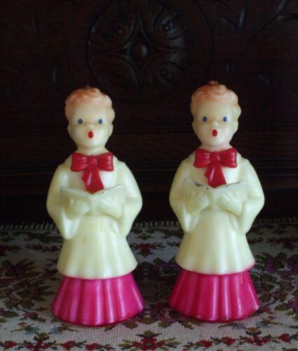 Vintage Christmas Candles Gurley CHOIR Boys Giant Figural Wax Pair Unburned Fab