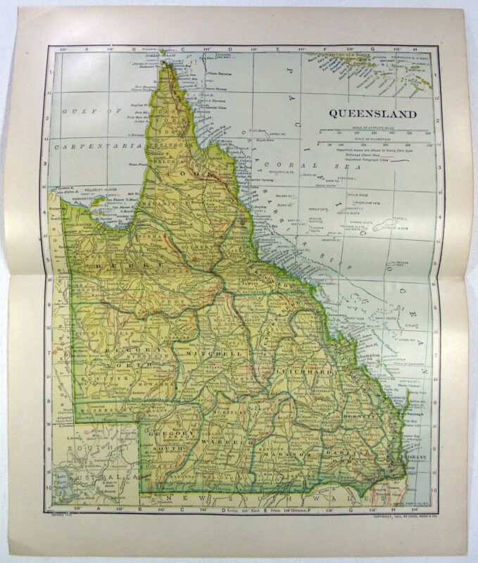 Original 1912 Map of Queensland, Australia by L. L. Poates