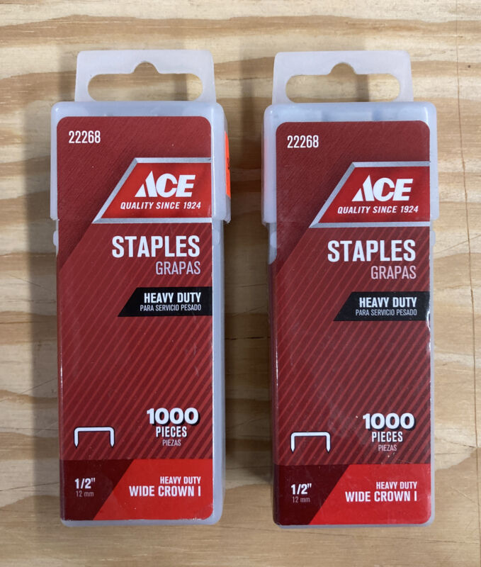 "2 ACE - Heavy Duty Wide Crown I Staples -  1/2"" / 12mm - 2 Packs / 2000 Pc"