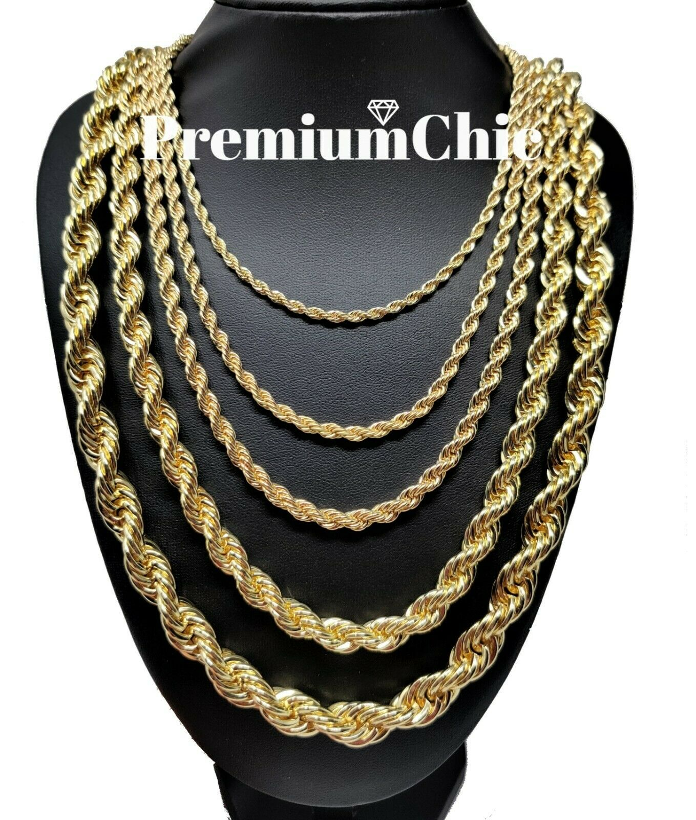 """Rope Chain Necklace 3mm to 10mm 16"""" to 30"""" 14K Gold Plated Mens Hip Hop Jewelry"""