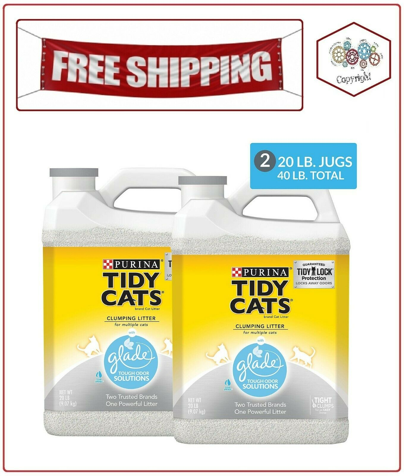 Purina Tidy Cats Clumping Litter with Glade Twin Pack 20 lb.