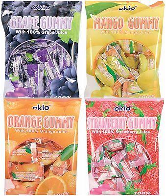 3 BAGS Okio Gummy Candy 3.52 oz Grape Strawberry Mango Orange - Choose a -