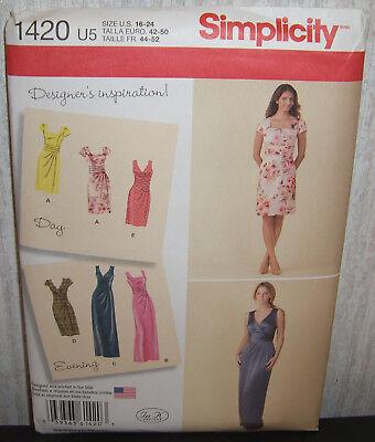 Womens/Miss Designer Inspired Dresses Sewing Pattern/Simplicity 1420/SZ 16-24/N