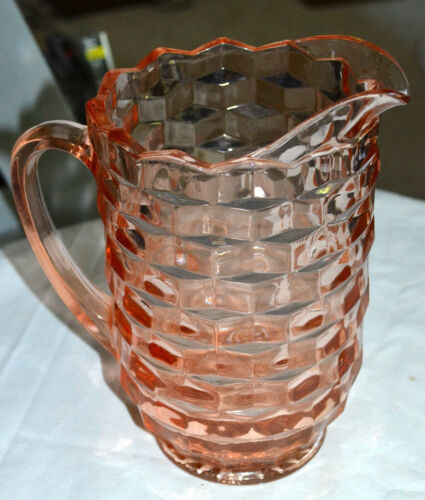 PITCHER Depression Glass PINK CUBE/CUBIST PATTERN Jeanette Glass Co. 1929-1933