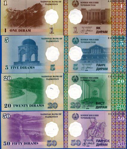 Tajikistan 1,5,20,50 Dirams Former USSR Uncirculated Banknotes SET #5