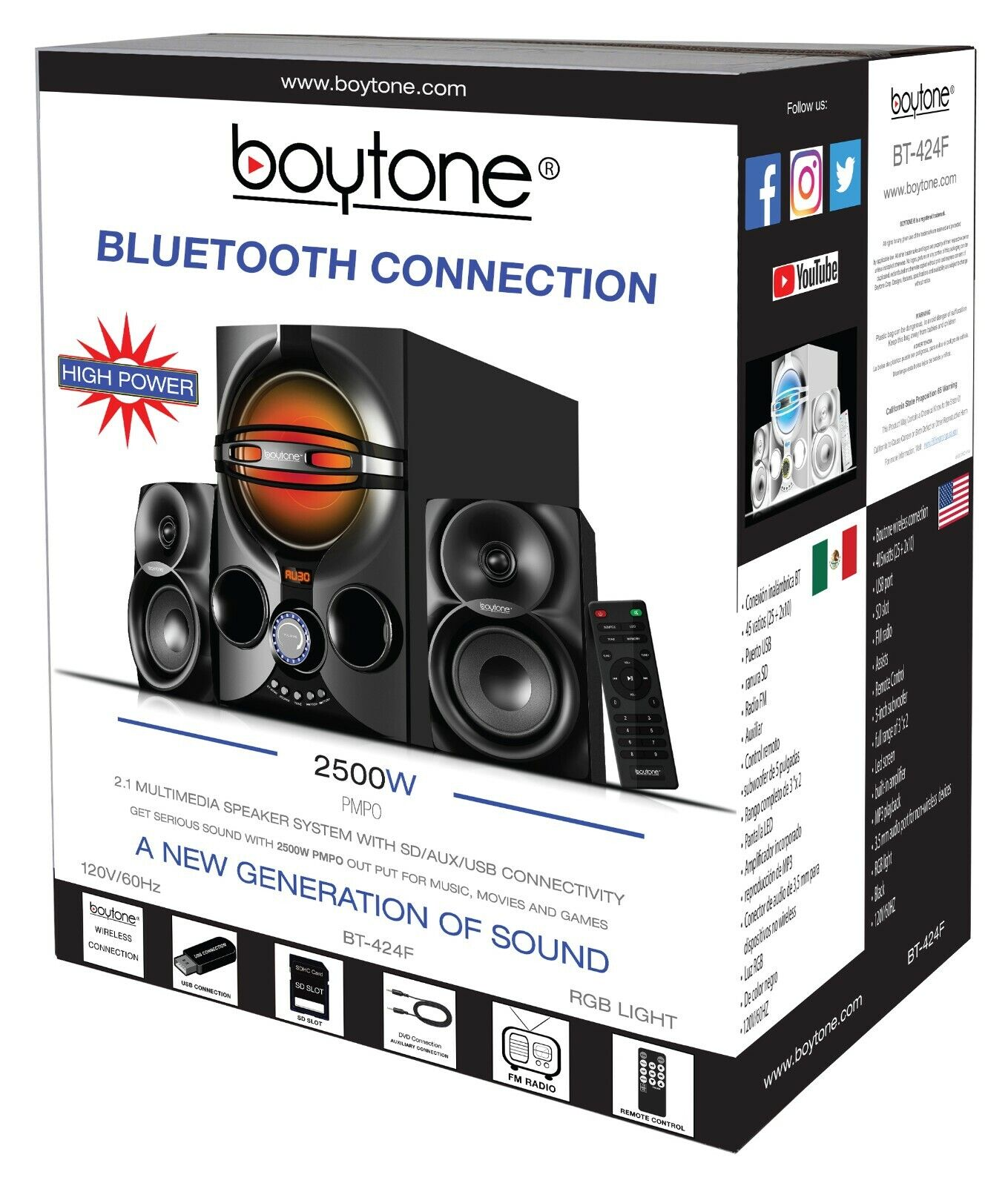 Boytone BT324F Powerful Wireless Bluetooth Home Speaker System 40 WFM Radio
