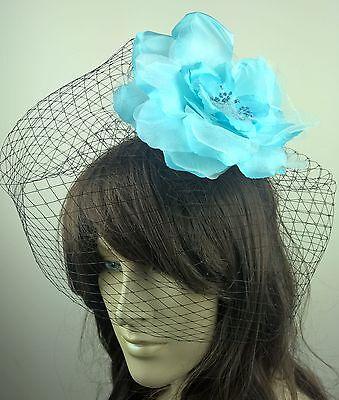 turquoise satin flower black veiling fascinator hair clip ascot wedding bridal x