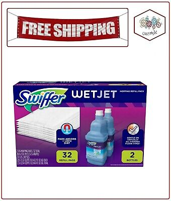 Pad Refill Pack (Swiffer Wetjet Mopping Refill Pack 32 Refill Pads plus 2 Bottle of Cleaner)