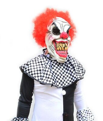 Scary Halloween Black & White Adult Mens Killer Clown Costume & Mask - CURLY RED - Black And White Scary Clown