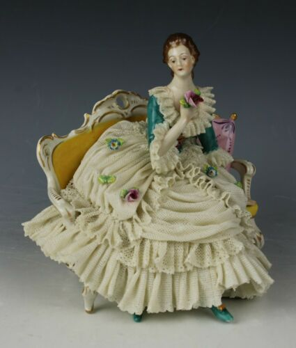 "Ackermann & Fritze Dresden lace figurine ""Lady Seated In Chair"" WorldWide"