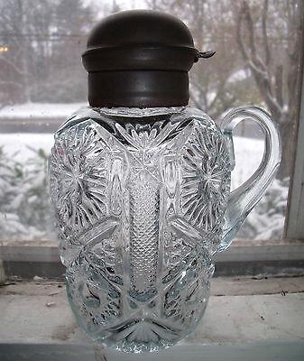 rare antique aquamarine pressed glass syrup jug