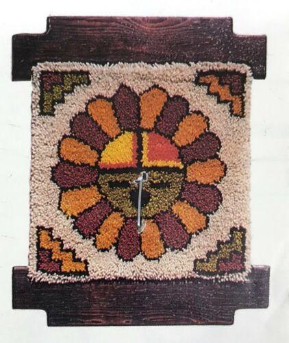 Vintage Latch Hook Rug Canvas SUN GOD Decorative Woods Southwest Wall Hanging