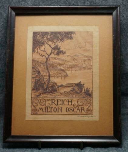 ANTIQUARIAN BOOKPLATE Dr. Milton Oscar Reich - Framed Circa 1910 - Signed CONRAD