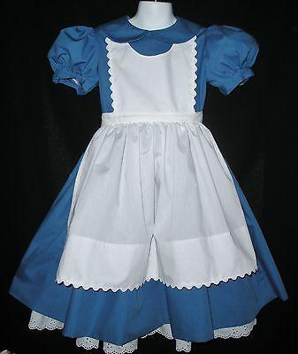 Alice in Wonderland Deluxe Costume Dress Apron Petticoat Custom Made Sizes 3-8