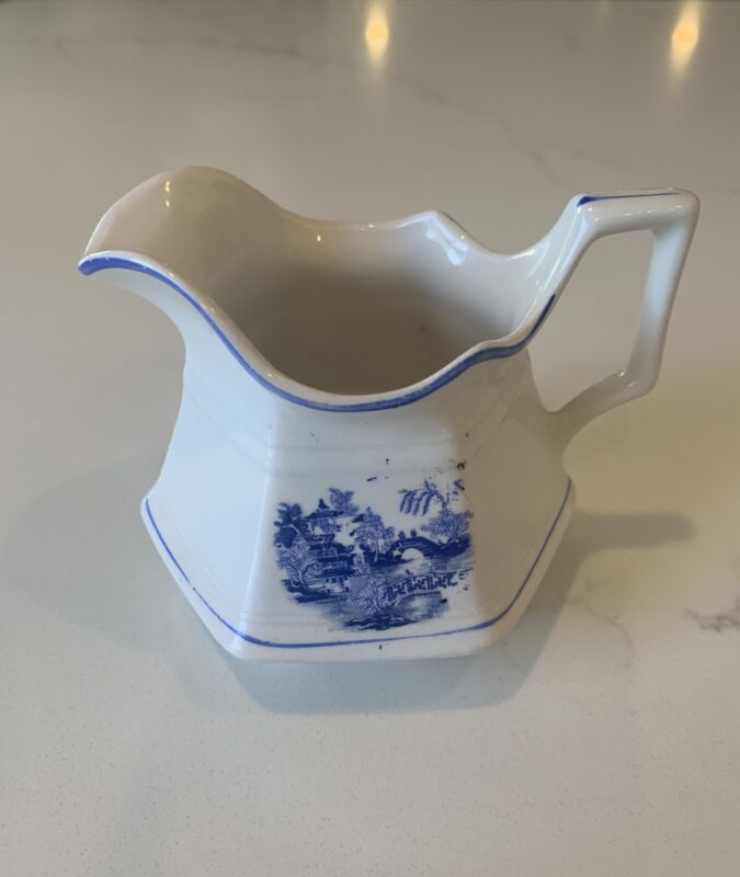 Vintage Sebring, S.P. CO. S—-V China Creamer  Discontinued H 22 white With Blue