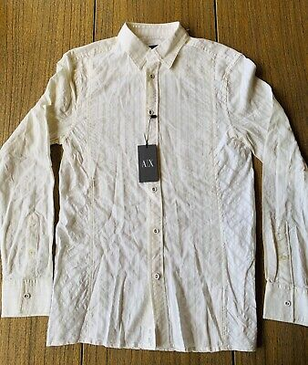 A|X Armani Exchange Men's White Long Sleeve Button Up Shirt Sz XS NWT