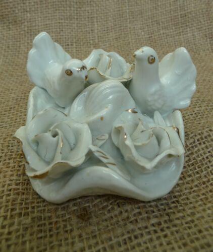 Old Decor Porcelain Doves roses Pigeons Dove Pigeon Figurine Collectibles Birds