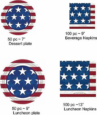 Americana Patriotic 50 pc Plates or 100 pc Napkins party supply USA Holiday 1-4B - Patriotic Plates