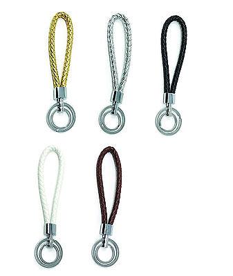 Braided Vegan Leather Wrist Wristlet LANYARDs w/ Double Key Rings Keychain