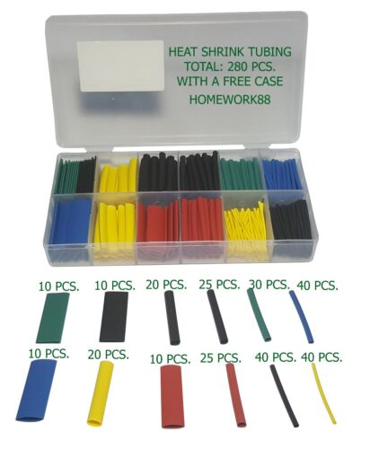 280 PCS. SLEEVING WRAP WIRE CAR ELECTRICAL CABLE TUBE KIT HEAT SHRINK TUBE