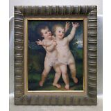 Pair of Infants in Garden Oil Painting on Wood Panel w Antique Style Decor Frame