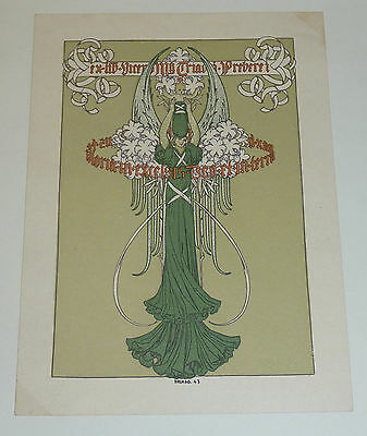 Ex Libris Mutter Gottes als Engel mit Jesuskind Art Deco 1943 Spanien Exlibris