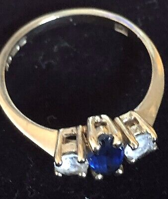 UK Vtg Hallmarked 9ct Yellow Gold Naturally Mined Sapphire3 Stone Ring -  Size M