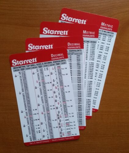 4 Starrett Machinist Pocket Cards Tap Drill Decimal & Metric Conversions Charts