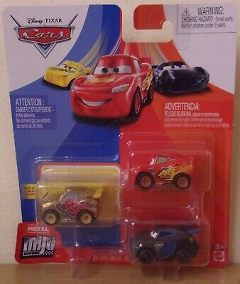 NEW Disney Pixar Cars Mini Racer 3 Pack Din Chick Cal Metallic Din McQueen