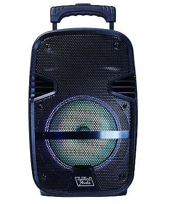 "Fully Amplified Portable 1600 Watts Peak Power 8"" Speaker w/ LED & Mic - Black"