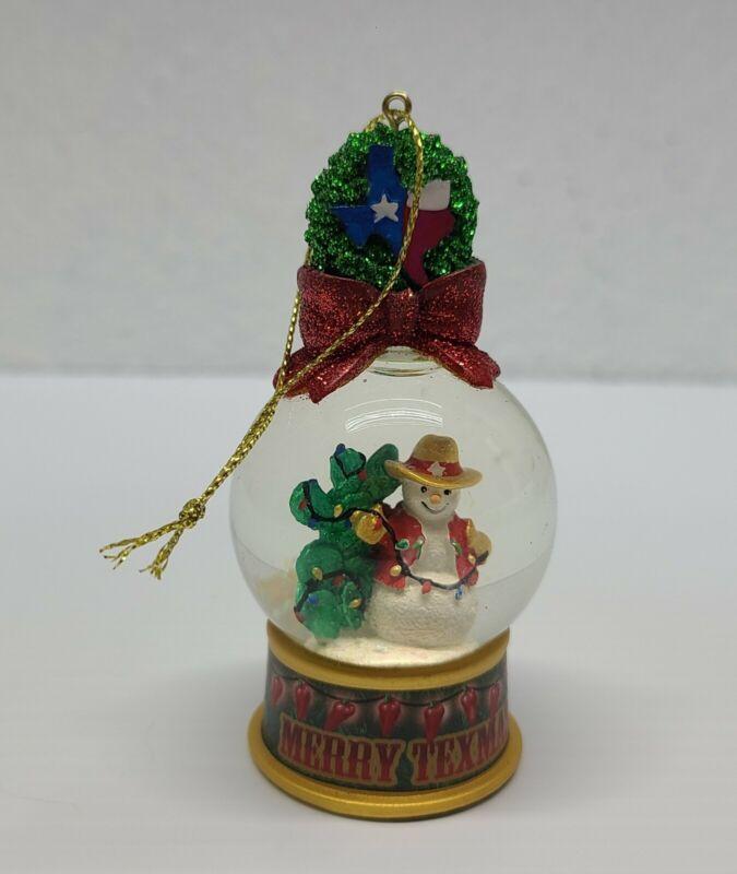 "Merry Texamas Ornament Snowglobe cowboy Snowman 4"" Cactus Chili Pepper Lights"