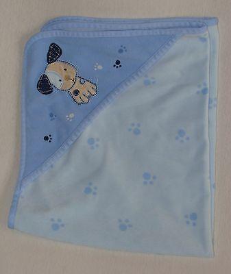 Carters Blue Puppy Dog Paw Print Fleece Baby Blanket