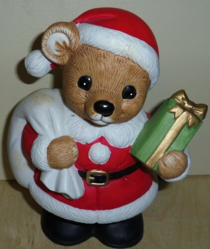 Vintage Coin Bank by Homco #5503 Santa Bear Present