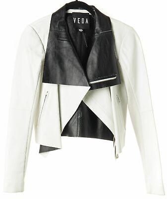 VEDA White Leather Jacket Sz S 600281