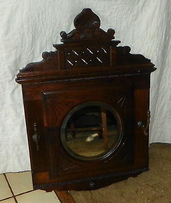 Solid Walnut Carved Hall Tree Mirror with Hooks  (MR48) Hall Mirror Hooks