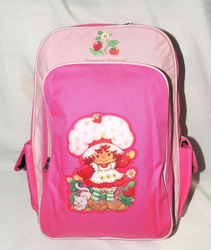 """STRAWBERRY SHORTCAKE   ~ LARGE  PINK CANVAS  BACKPACK  16""""x12""""x5"""""""