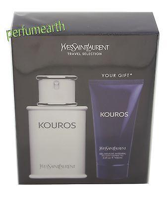 Kouros Set - KOUROS BY YVES SAINT LAURENT 2PCES SET 3.3/3.4 OZ EDT SPRAY FOR MEN NEW IN BOX