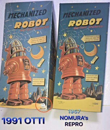 1957 Nomura Tin Roby The Robot  Mechanized Battery Operated TYPE REPRO EMPTY BOX