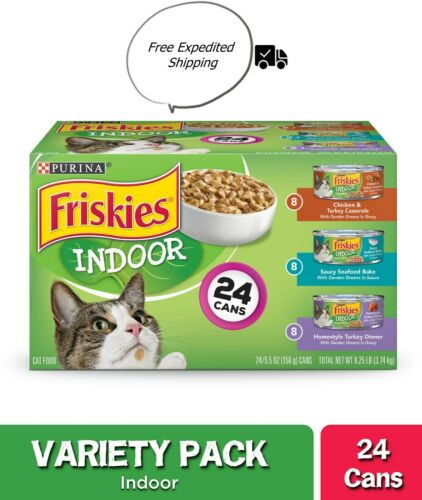 Purina Friskies Indoor Wet Cat Food Variety Pack; Indoor - (24) 5.5 oz. Cans