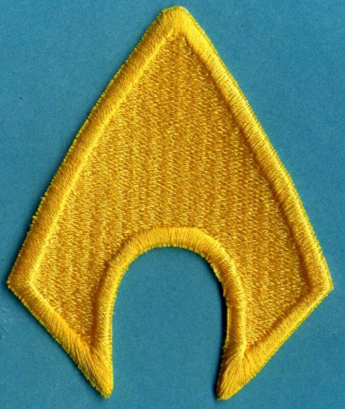 """AQUAMAN  3"""" x 2.5"""" Fully Embroidered Yellow Insignia Buckle sized Iron-on Patch"""