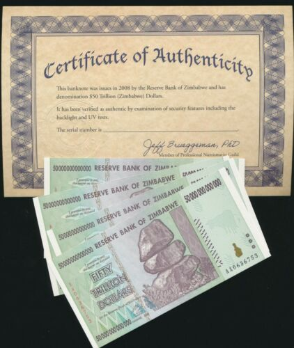 Zimbabwe 50 TRILLION DOLLAR BILL AA/2008 uncirculated 100% CoA genuine